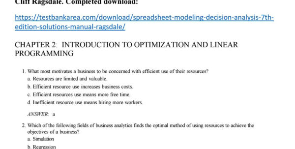 Optimization Modeling With Spreadsheets Solutions Within Spreadsheet Modeling And Decision Analysis 7Th Edition Test Bank
