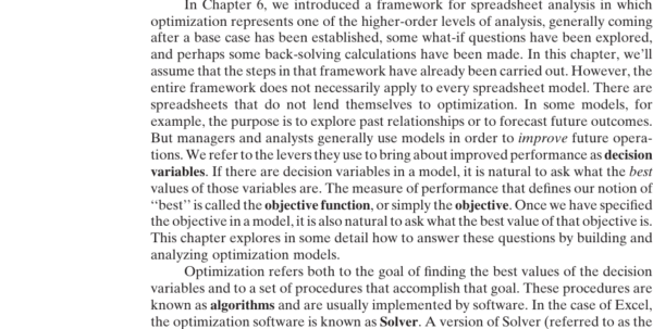 Optimization Modeling With Spreadsheets Within Chapter 10: Nonlinear Optimization  Management Science: The Art Of