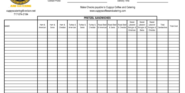 Order Spreadsheet Pertaining To Fundraising Spreadsheet Template Fundraiser Order Sheet Templates