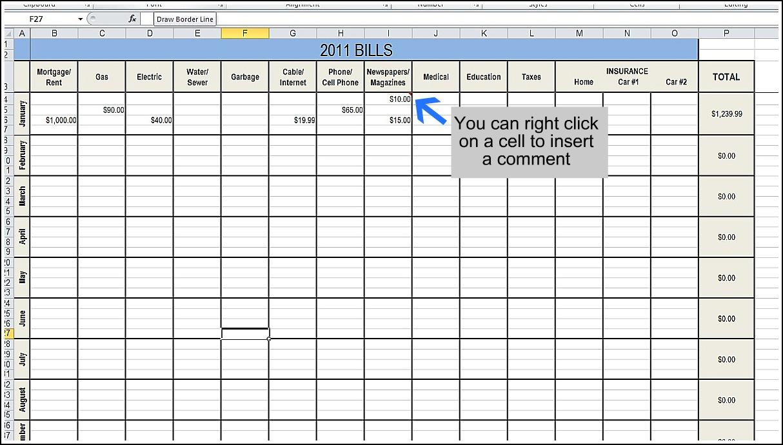 Organize Bills Spreadsheet With Organize Bills Spreadsheet Printable Finances Your Expenses Budget