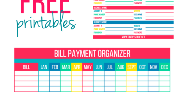 Organizing Bills Spreadsheet With Free Bill Paying Organizer Template Yearly Monthly Printable