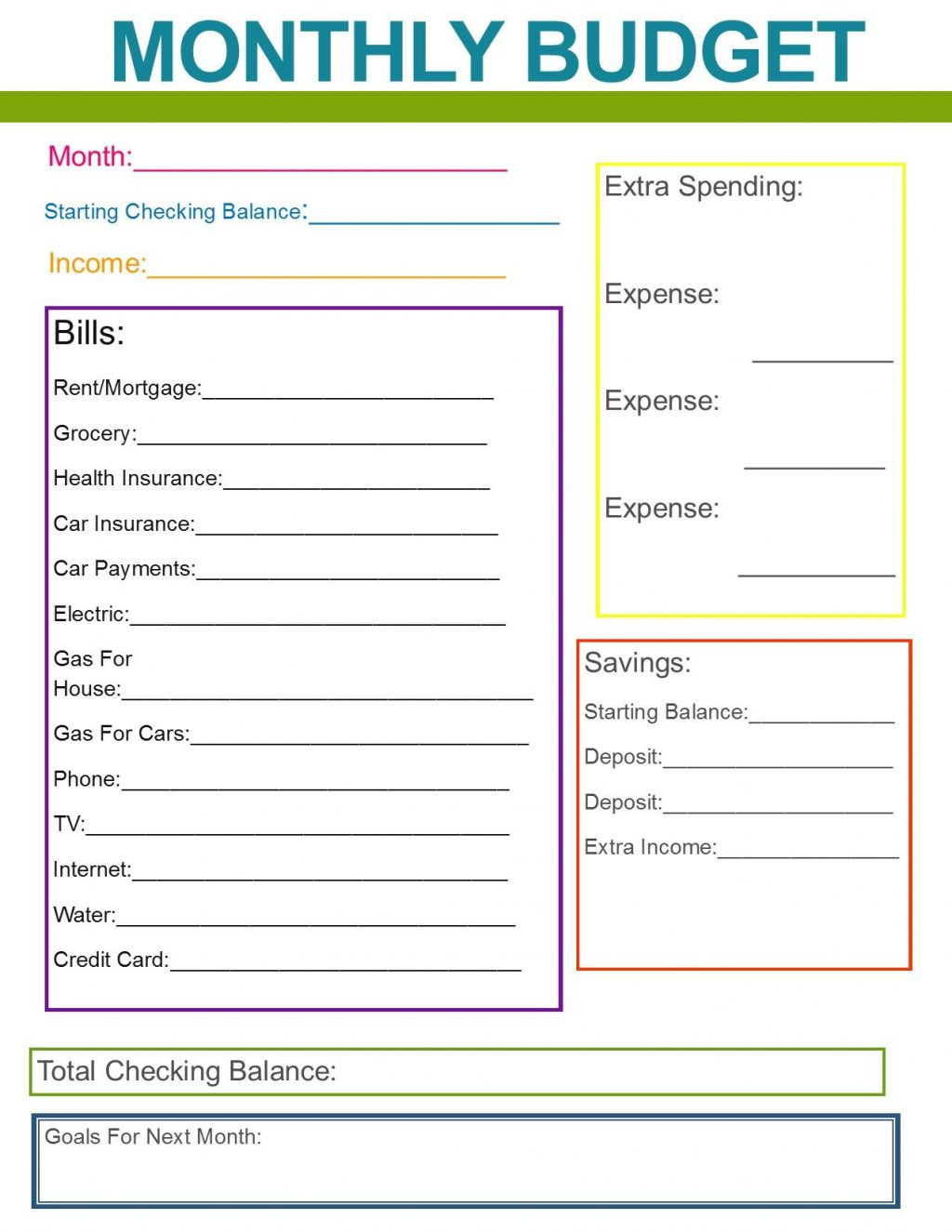 Organizing Bills Spreadsheet Within Organize Bills Spreadsheet Bill Of Sale Monthly Family Budget