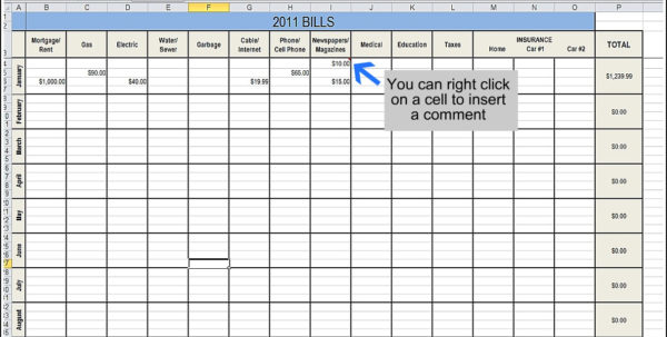 Organizing Bills Spreadsheet Within Organize Bills Spreadsheet Printable Finances Your Expenses Budget