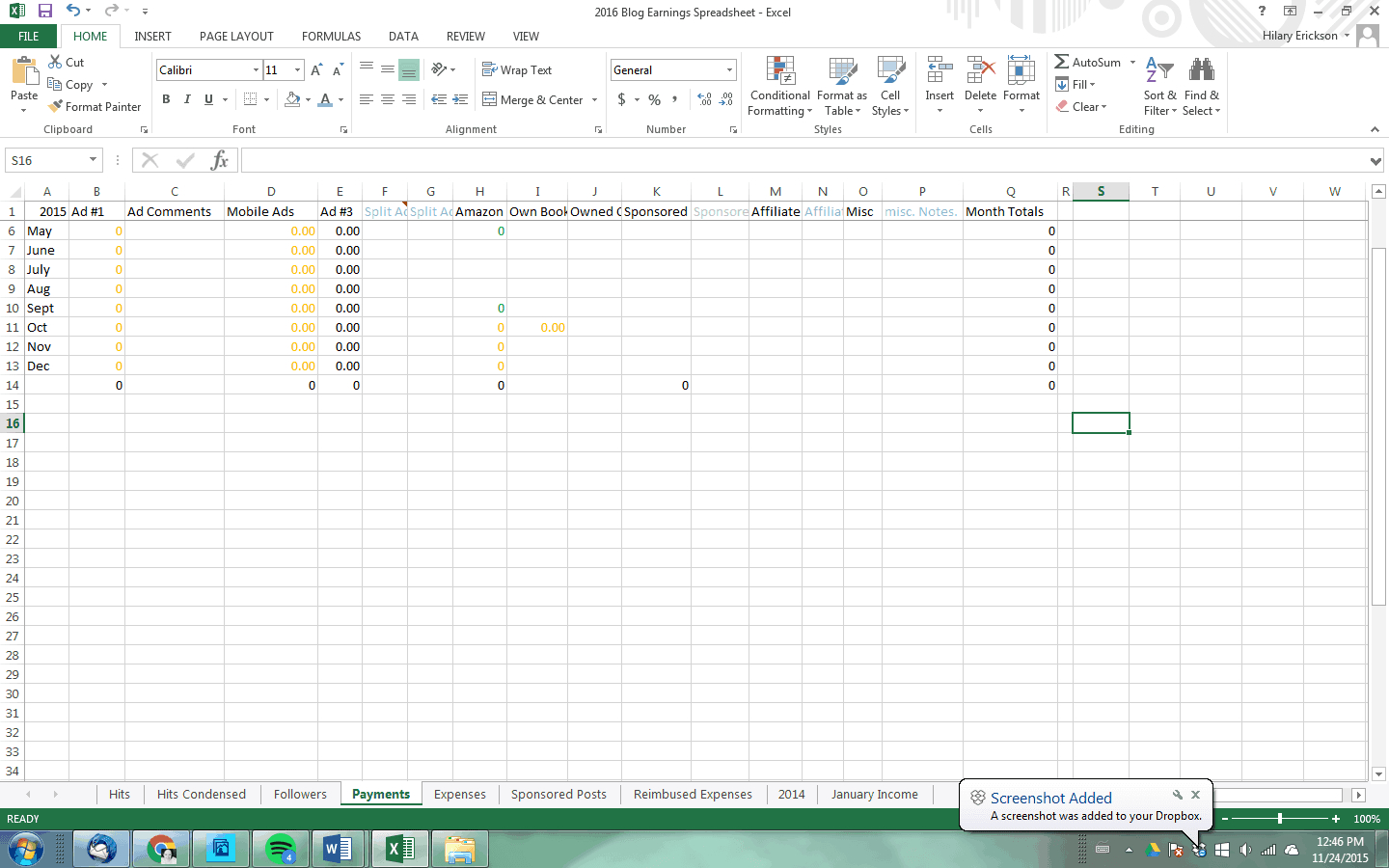 Owner Earnings Spreadsheet For Blogging Income Spreadsheet  Pulling Curls
