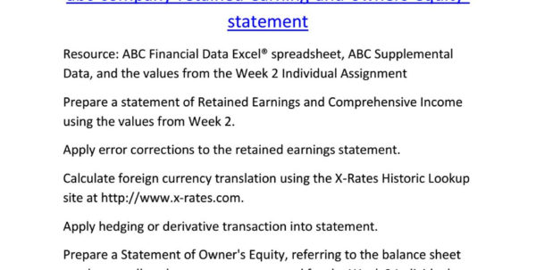 Owner Earnings Spreadsheet Intended For Acc 545 Week 3 Abc Company Retained Earning And Owners Equity