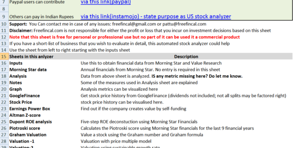 Owner Earnings Spreadsheet Throughout Stock Analysis Spreadsheet For U.s. Stocks: Free Download