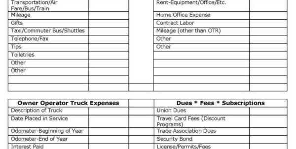 Owner Operator Expense Spreadsheet Intended For Trucking Expenses Spreadsheet Small Business Tax With Truck Driver