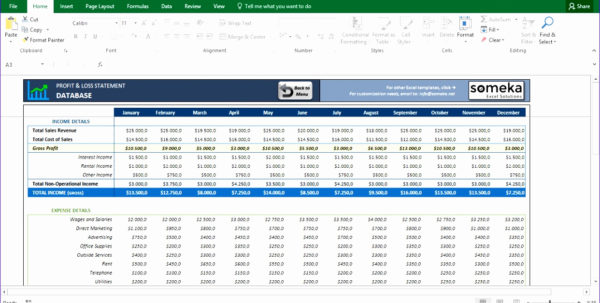 P And L Spreadsheet In P And L Spreadsheet Or 12 Profit  Loss Excel Template