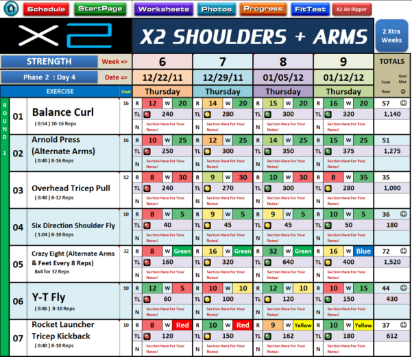 P90X Excel Spreadsheet In Excel Spreadsheet Workout  Nutrition Managers For P90X2