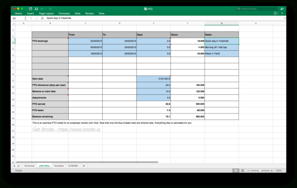 Paid Time Off Accrual Spreadsheet Inside Free Time Off Tracker  Bindle