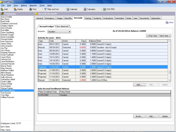 Paid Time Off Accrual Spreadsheet Intended For Manage Timeoff Accruals In Staff Files Personnel Software