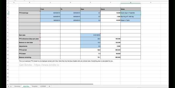 Paid Time Off Spreadsheet In Free Time Off Tracker  Bindle