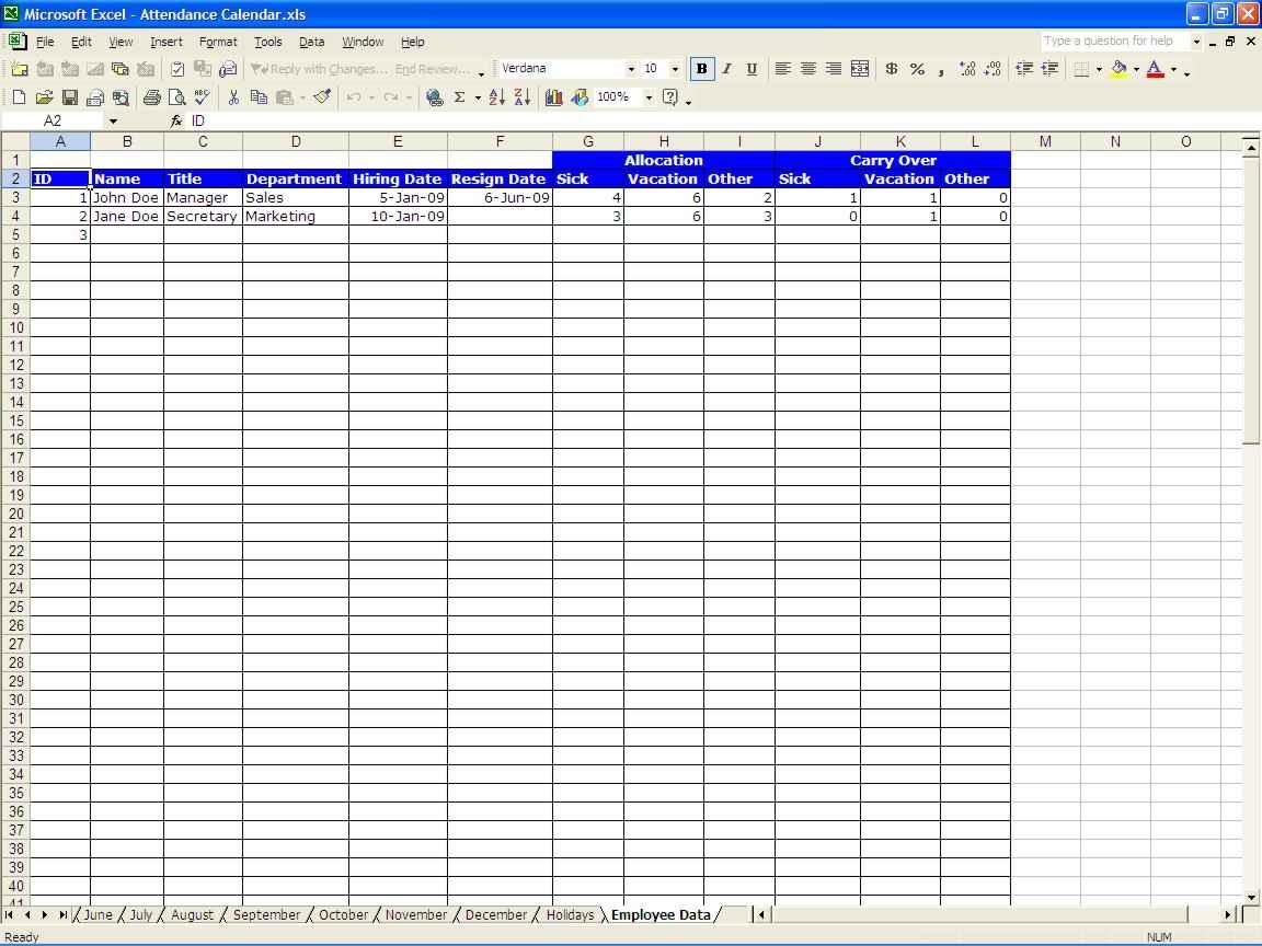 Paid Time Off Spreadsheet Regarding Employee Paid Time Off Tracking Spreadsheet And Time Off Tracker