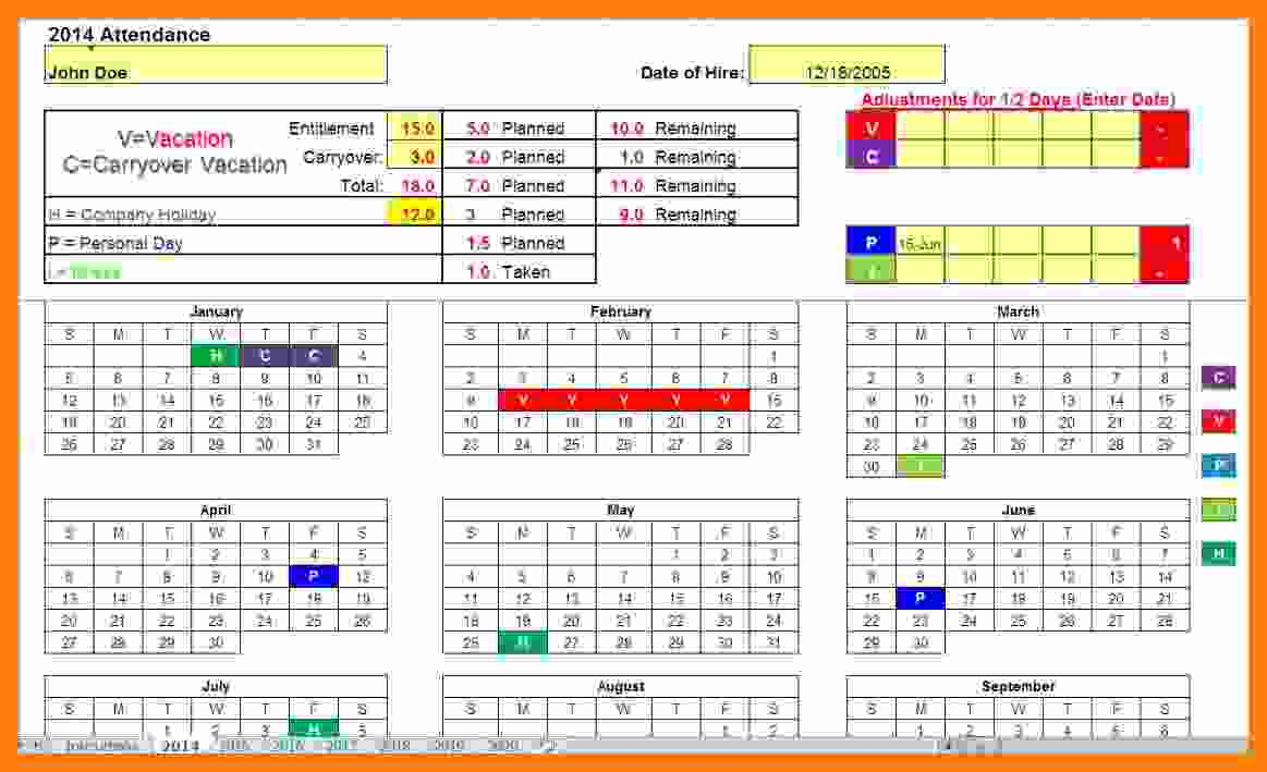 Paid Time Off Tracking Spreadsheet Intended For Time Off Tracking Spreadsheet Sample Worksheets Employee Paid Free