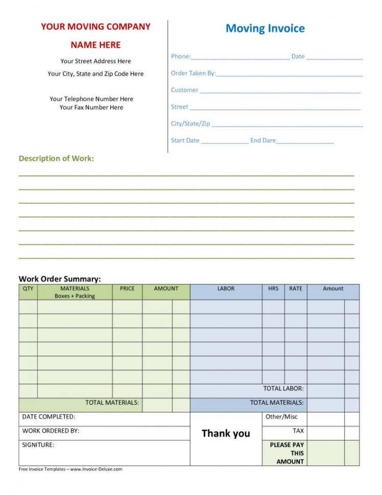 Parts Of A Spreadsheet Throughout Parts And Labor Invoice Template Free Spreadsheet
