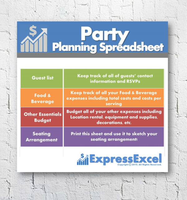 Party Expense Spreadsheet With Regard To Party Planning Excel Spreadsheet Template Food  Beverage  Etsy