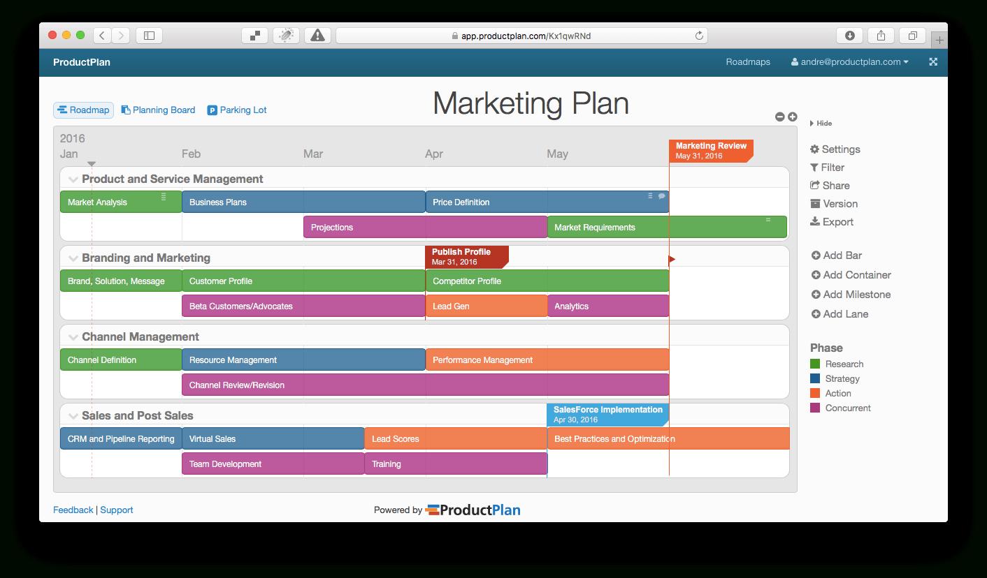 Passage Plan Spreadsheet Inside Three Example Marketing Roadmaps