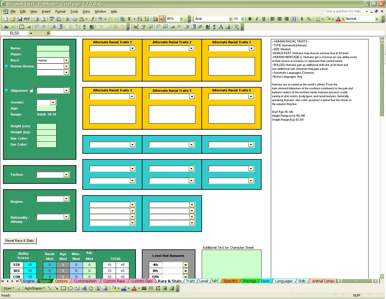 Pathfinder Downtime Spreadsheet In Nikki: Scoreforge Pathfinder Character Creator Download