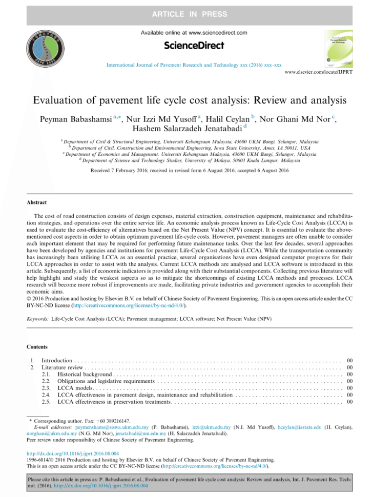 Pavement Life Cycle Cost Analysis Spreadsheet In Pdf Life Cycle Cost Analysis For Pavement Type Selection