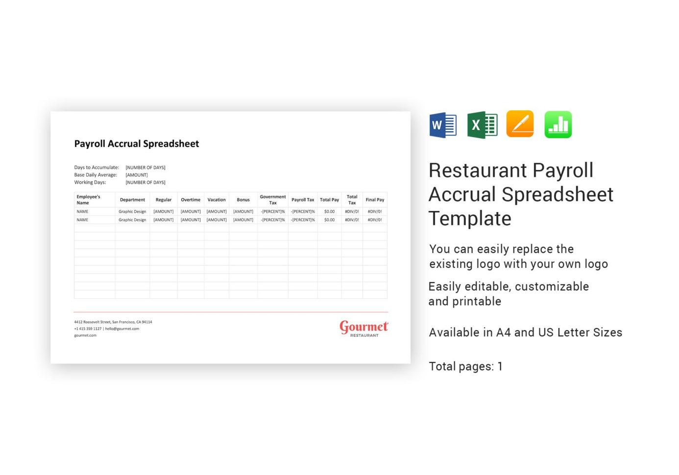 Payroll Accrual Spreadsheet Inside Restaurant Payroll Accrual Spreadsheet Template In Word, Excel