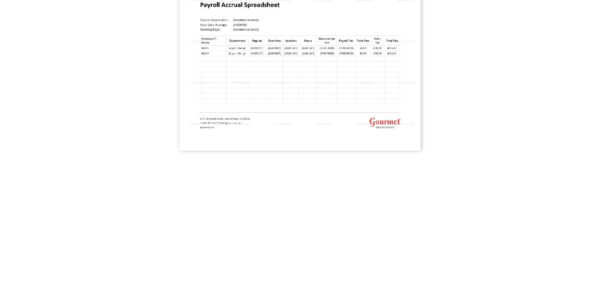 Payroll Accrual Spreadsheet Template Within Restaurant Payroll Accrual Spreadsheet Template In Word, Excel