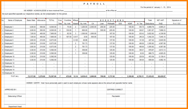 Payroll Spreadsheet Examples With Free Excel Payroll Templates Sheet Format Download Spreadsheets