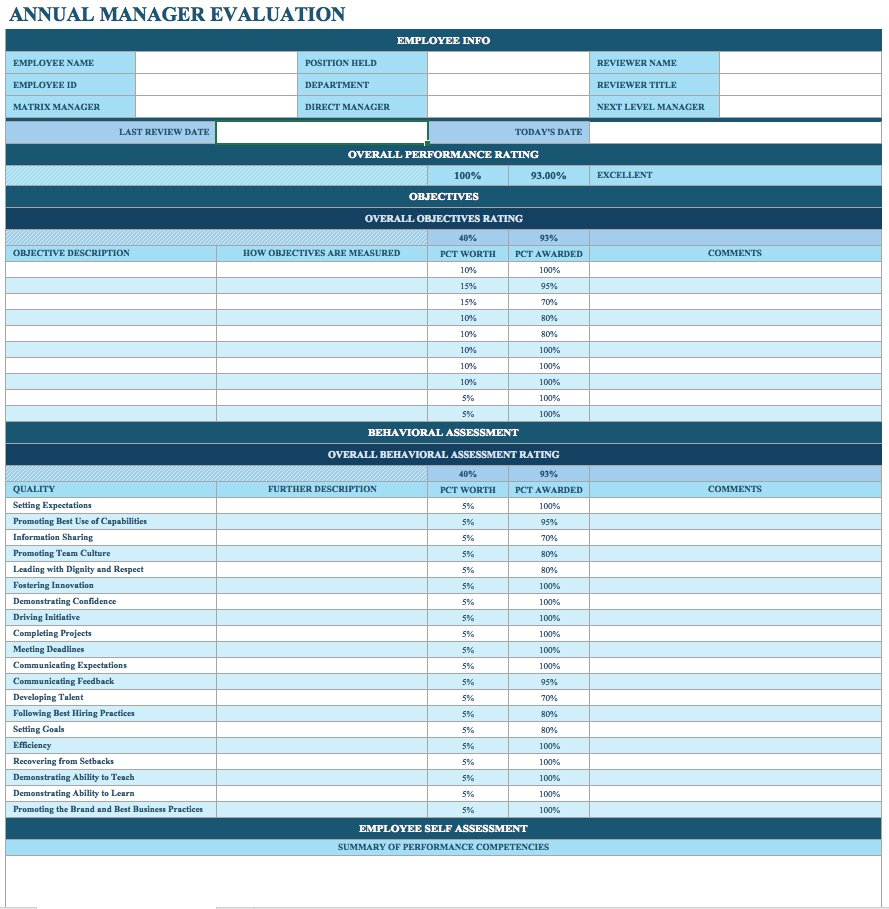 Performance Review Spreadsheet For Free Employee Performance Review Templates  Smartsheet