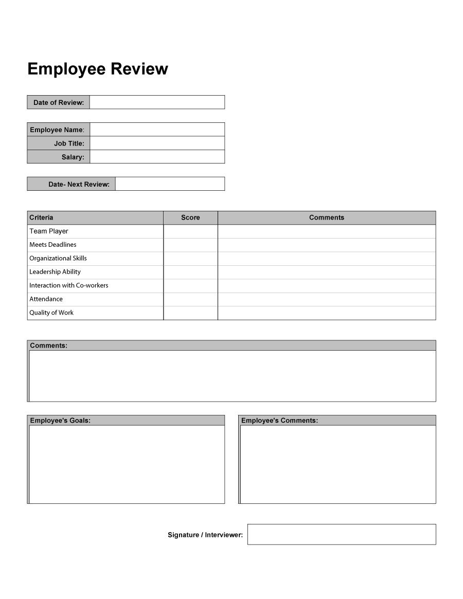 Performance Review Spreadsheet With Regard To 46 Employee Evaluation Forms  Performance Review Examples