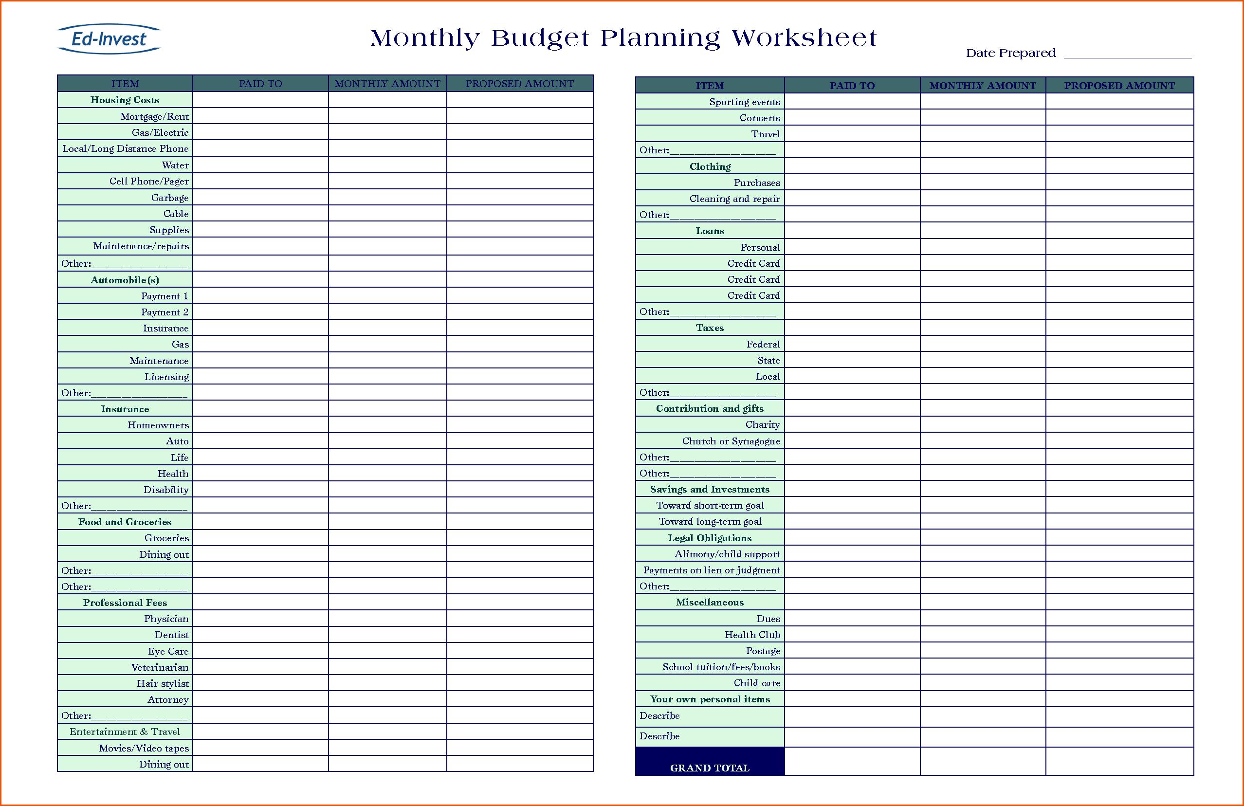 Personal Budget Planner Spreadsheet Regarding Budget Planning Spreadsheet Invoice Template Business Excel Sheet