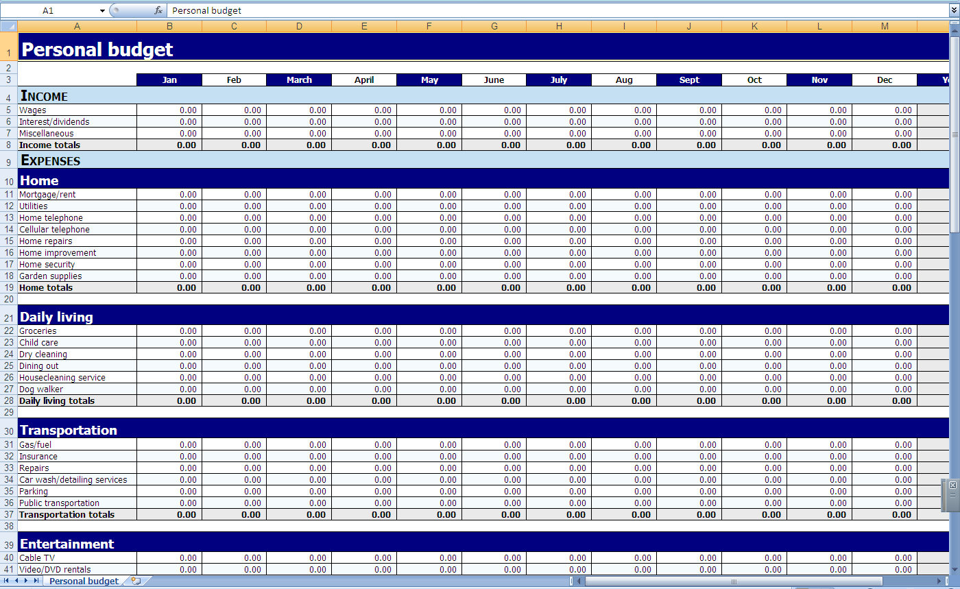 Personal Budget Spreadsheet Excel With Regard To Monthly And Yearly Budget Spreadsheet Excel Template