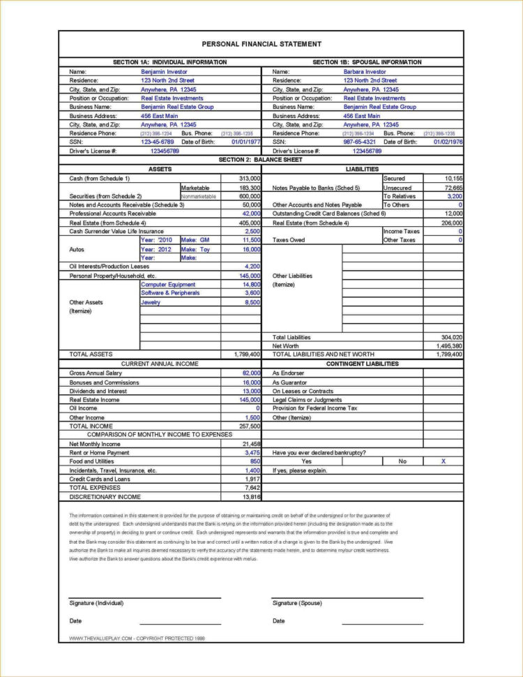 Personal Financial Statement Spreadsheet For 018 Free Personal Financial Statement Template Download Form