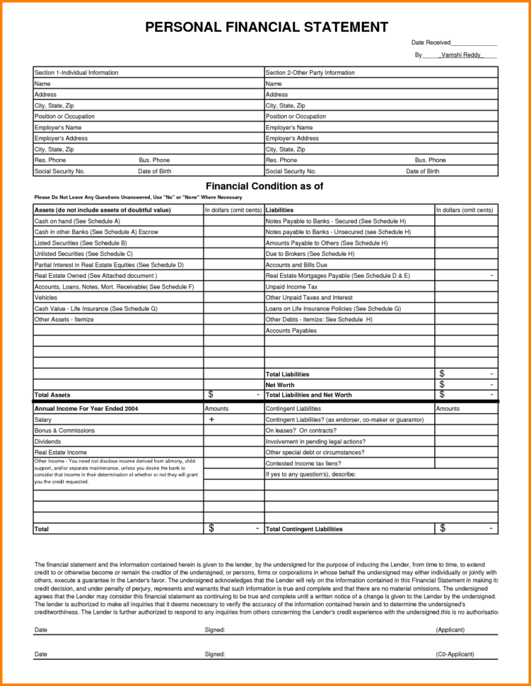 Personal Financial Statement Spreadsheet Inside Individual Financial Statement Template And 10 Personal Financial