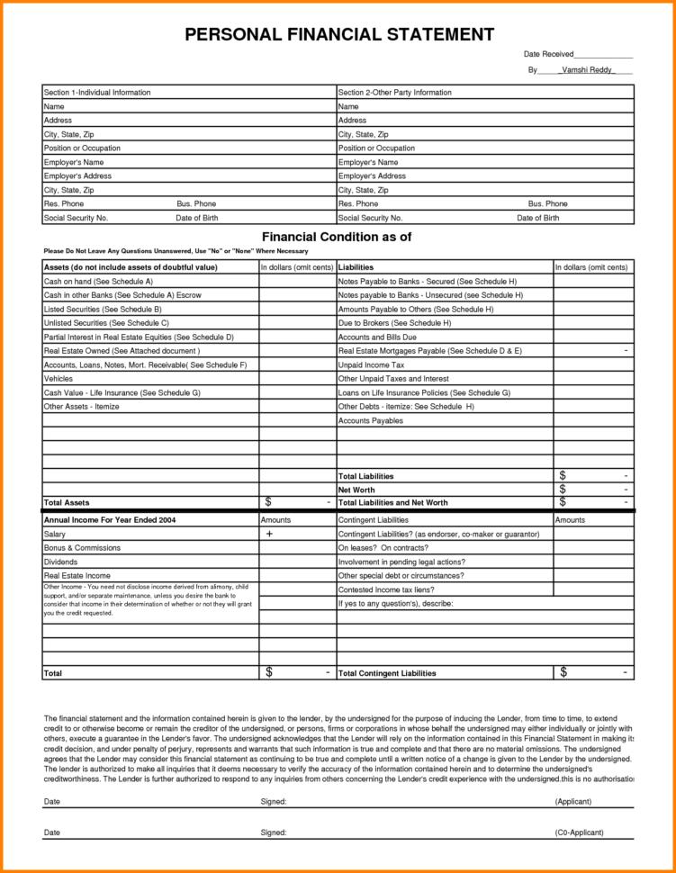 Personal Financial Statement Spreadsheet Inside Individual Financial Statement Template And 10 Personal Financial