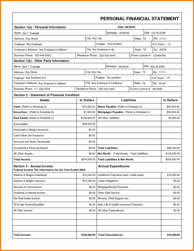 Personal Financial Statement Spreadsheet Pertaining To Business Year End Financial Statement Template Free Report Sample