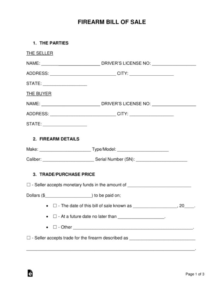 Personal Firearm Record Spreadsheet In Free Firearm Gun Bill Of Sale Form  Word  Pdf  Eforms – Free