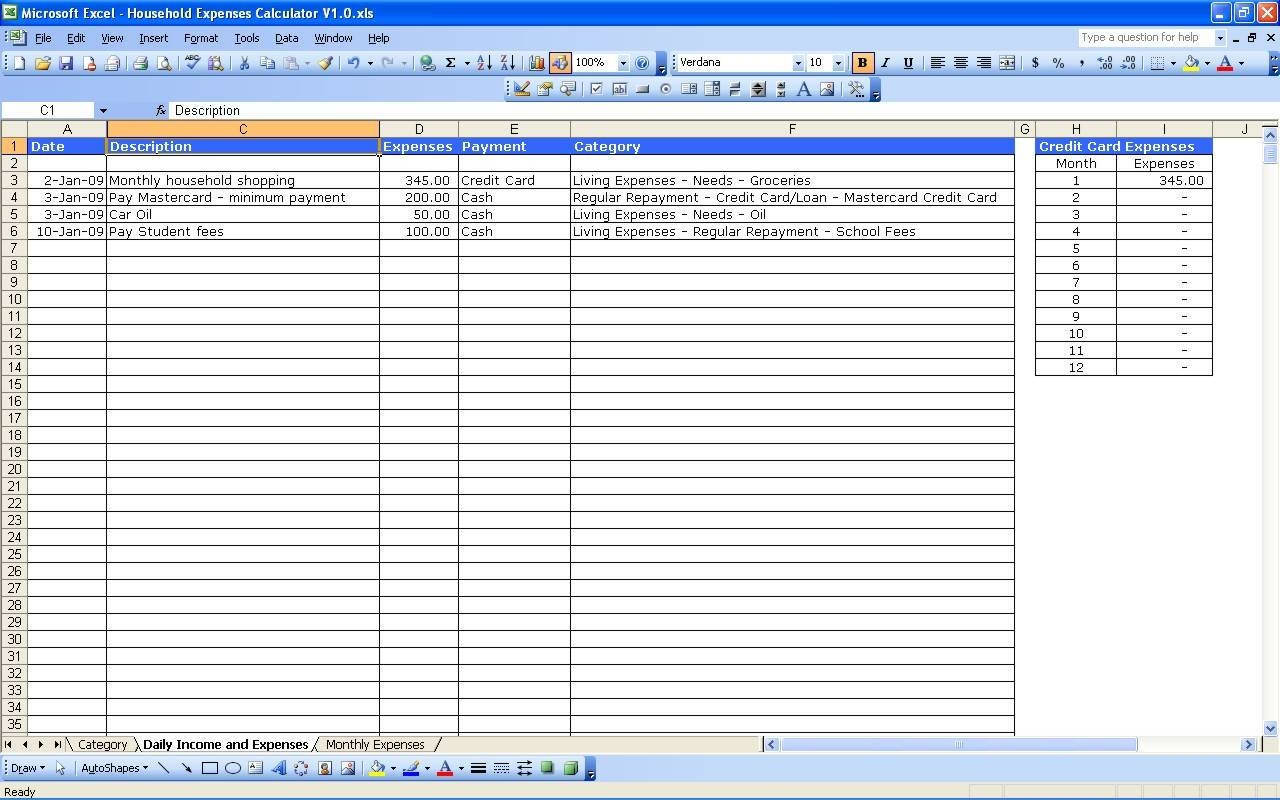 Personal Income And Expenses Spreadsheet For Expense Tracking Spreadsheet Template Travel Business Free Sample