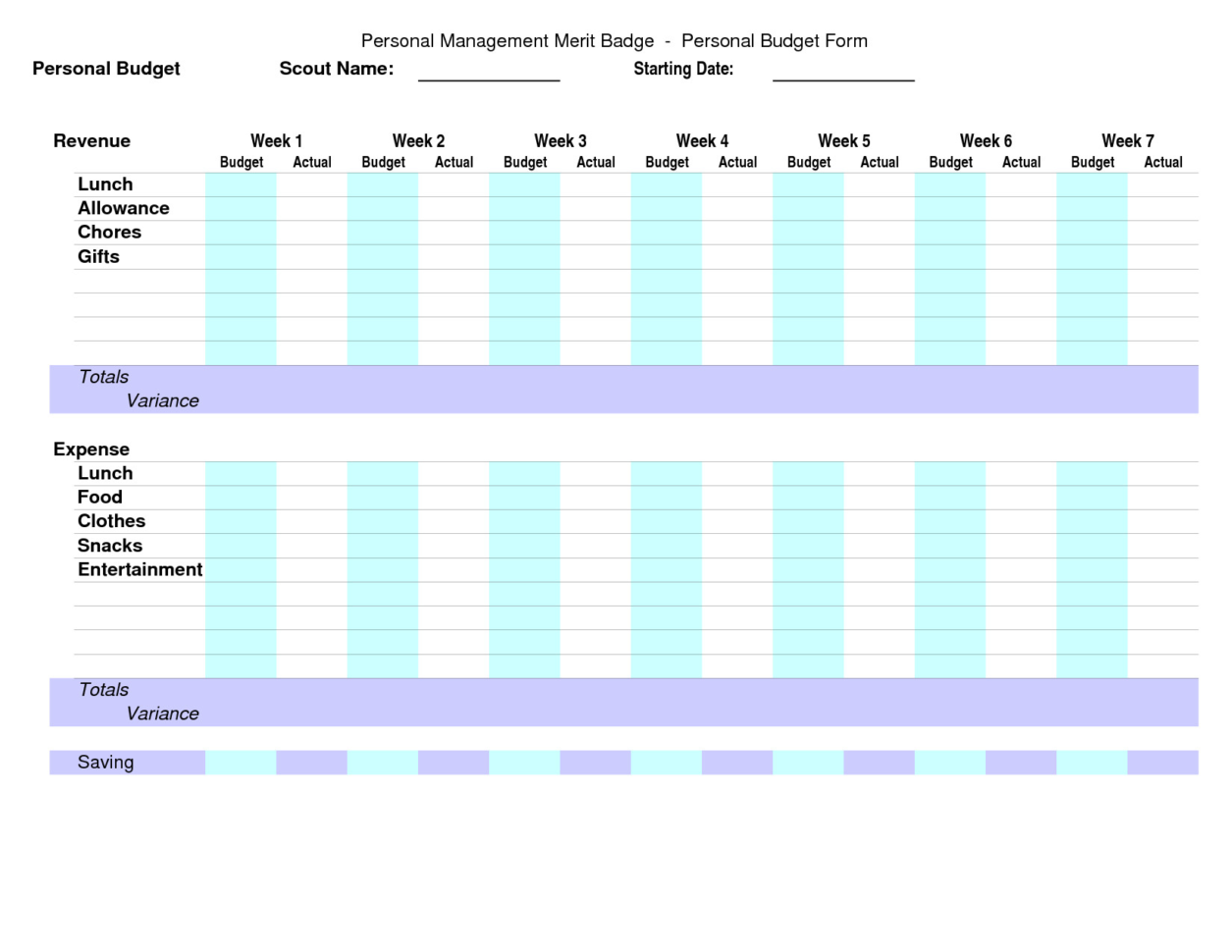 Personal Management Merit Badge Excel Spreadsheet Within Personal Management Merit Badge Excel Spreadsheet  My Spreadsheet
