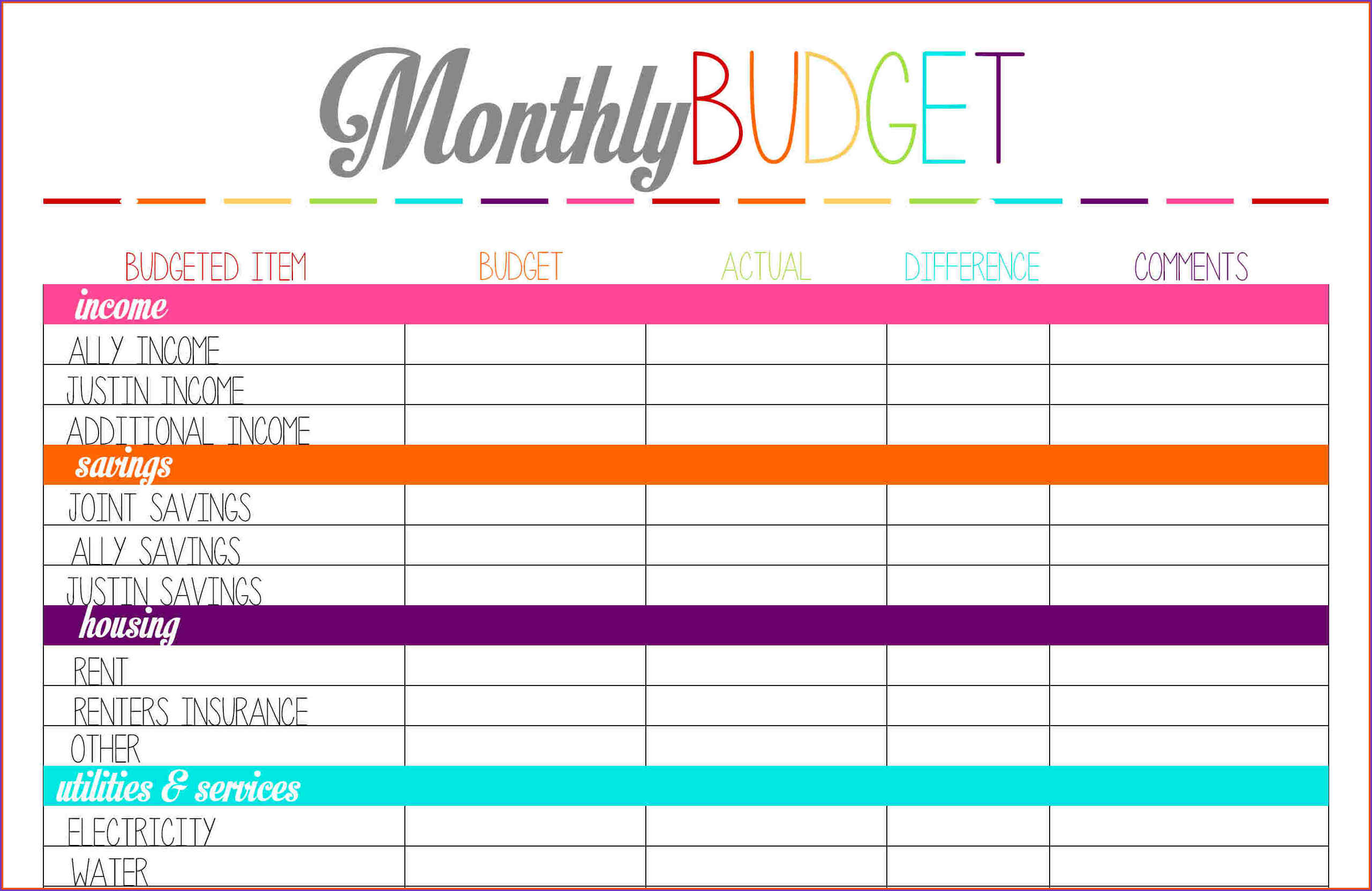 Personal Monthly Budget Excel Spreadsheet For Monthly Bills Template Spreadsheet Personal Budget More Templates