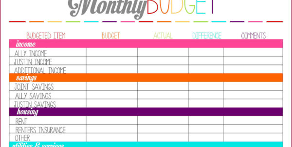 Personal Monthly Budget Spreadsheet Regarding Monthly Bills Template Spreadsheet Personal Budget More Templates Personal Monthly Budget Spreadsheet Google Spreadsheet