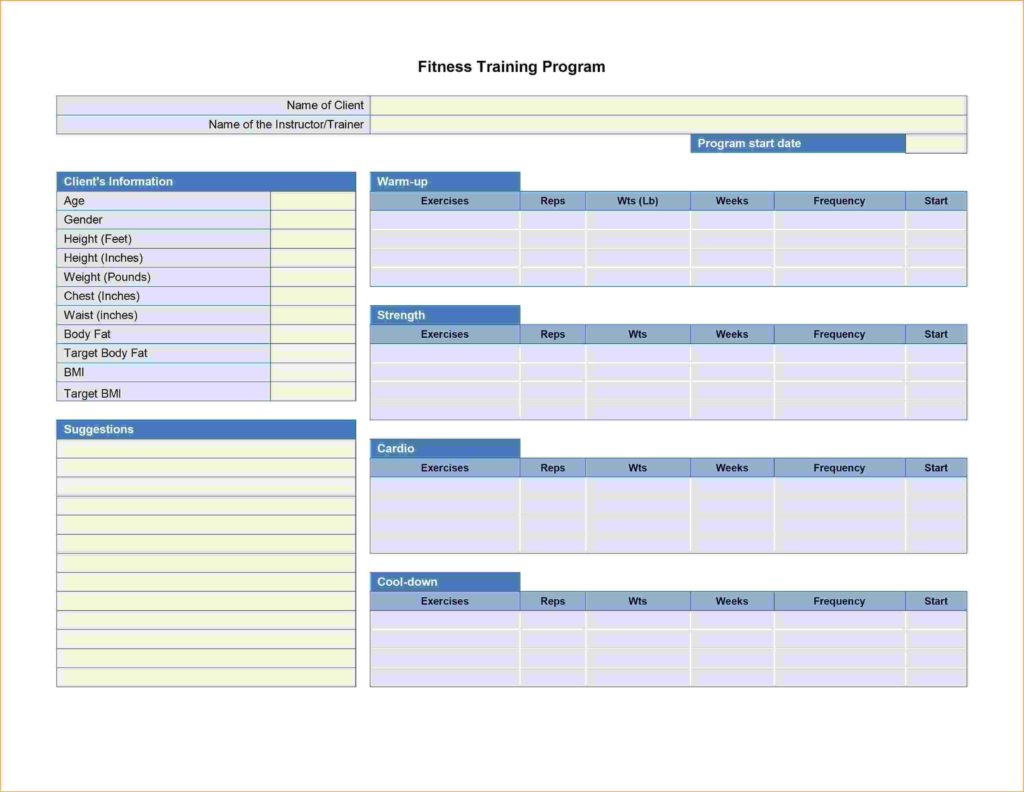 Personal Trainer Spreadsheet Template Throughout Excel Spreadsheet Training Courses Training Spreadsheet Template