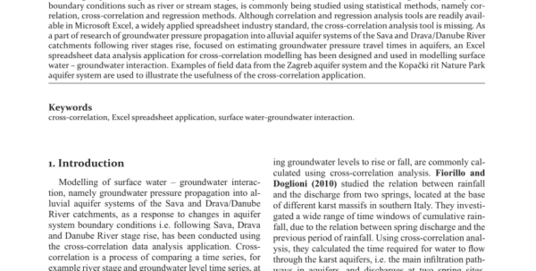 Petroleum Engineering Spreadsheet Excel Intended For Pdf Crosscorrelation Modelling Of Surface Water – Groundwater