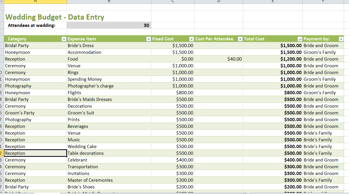 Photographer Expenses Spreadsheet With Party Expenses Spreadsheet Templates  Homebiz4U2Profit