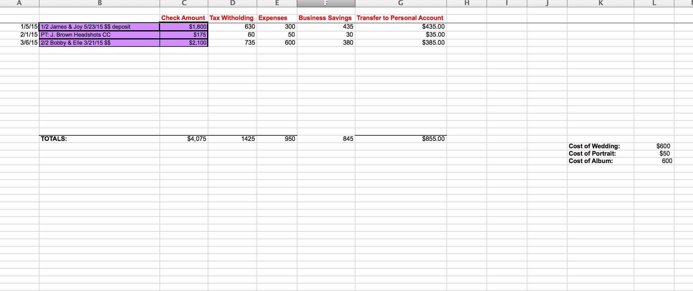 Photography Accounting Spreadsheet With Regard To Spreadsheet Examples Photography Accounting Awesome Sarah Bradshaw