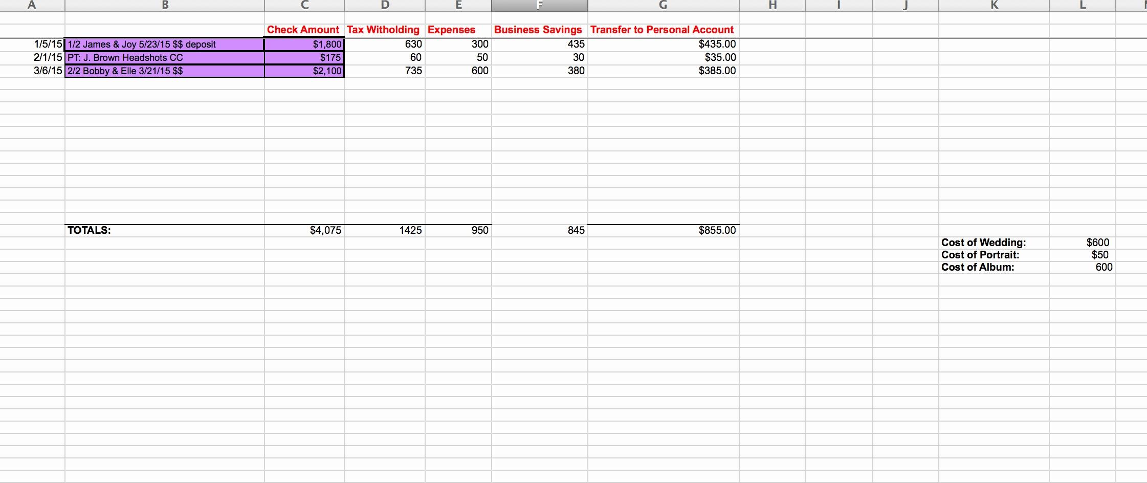 Photography Accounting Spreadsheet With Regard To Spreadsheet Examples Photography Accounting Awesome Sarah Bradshaw