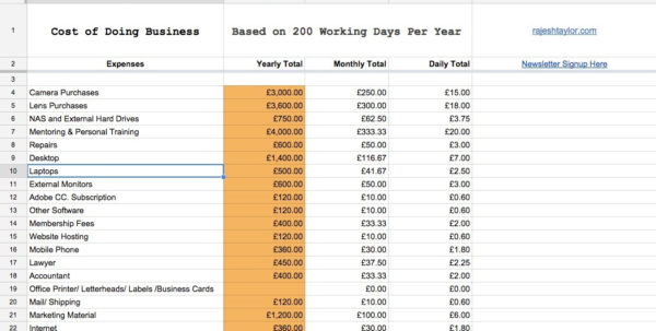 Photography Pricing Spreadsheet Inside Field Notes  Rajesh Taylor  St James's  Mayfair London Photographer