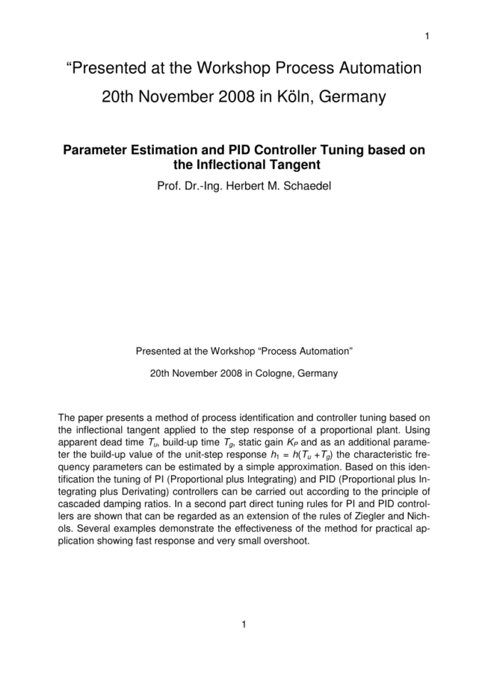 Pid Loop Tuning Spreadsheet Regarding Pdf A New Method Of Direct Pid Controller Design Based On The