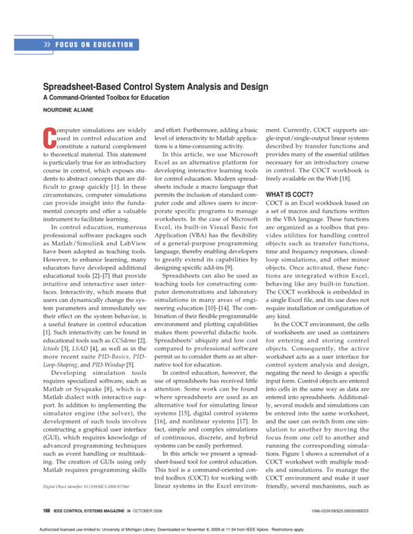 Pid Loop Tuning Spreadsheet Within Pdf Spreadsheetbased Control System Analysis And Design [Focus On