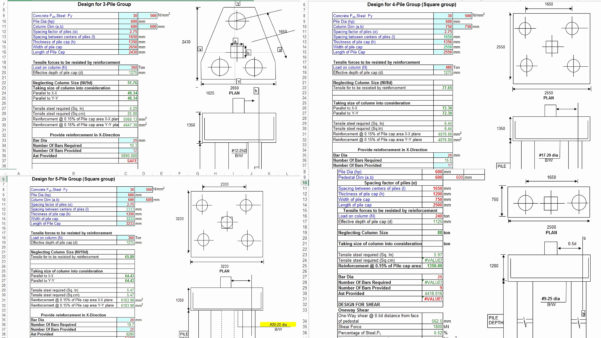 Pile Cap Design Spreadsheet Pertaining To Pile Cap Design Spreadsheet  Aljererlotgd