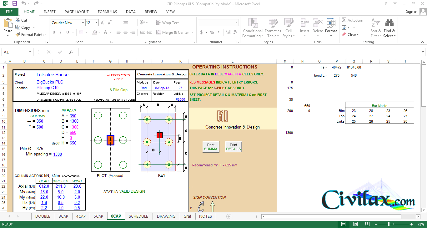 Pile Design Spreadsheet Free Download With Regard To Pile Cap Design Spreadsheet To Bs 8110:1997