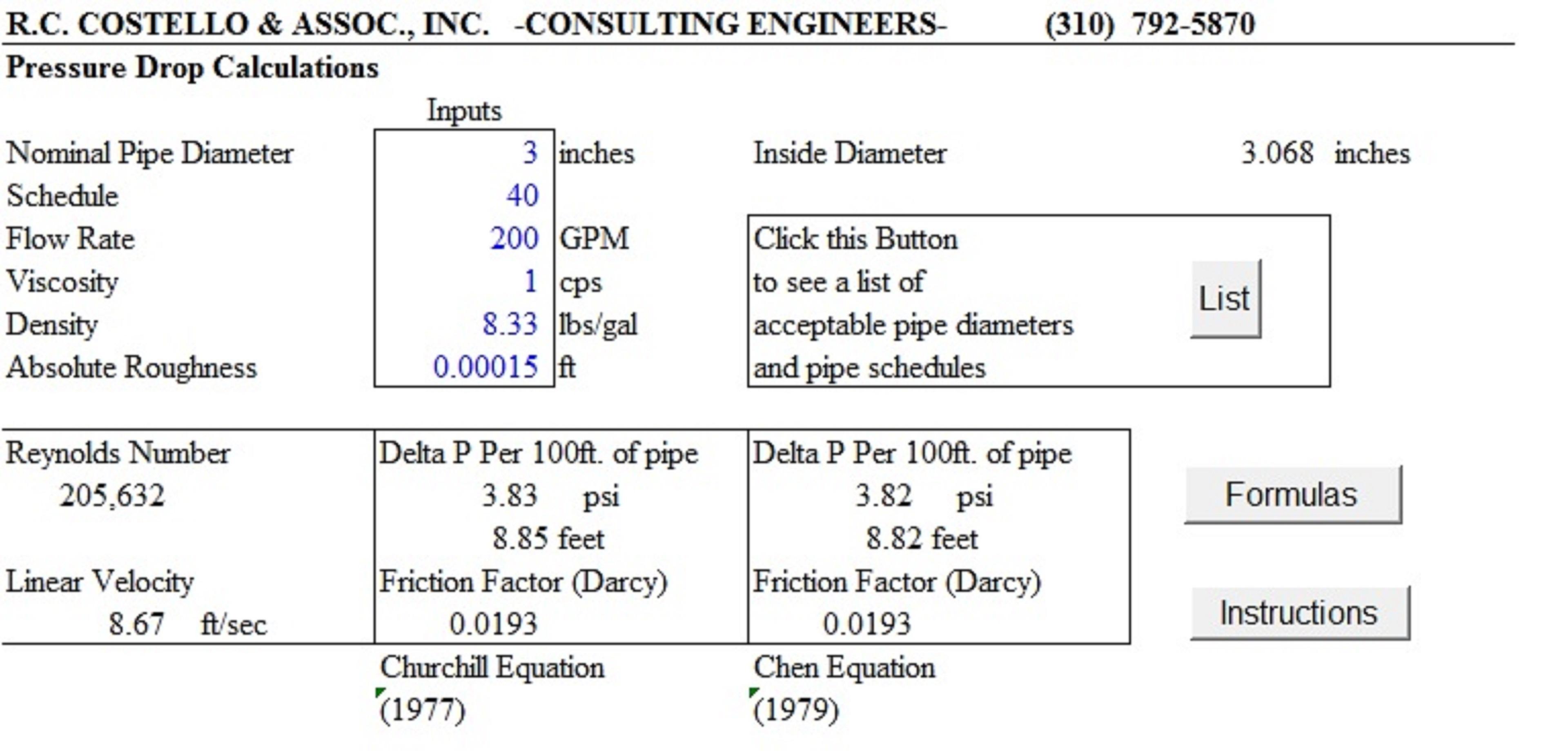 Pipe Heat Loss Spreadsheet In Pipeflow 3.0  A Pressure Drop Calculator – Costello